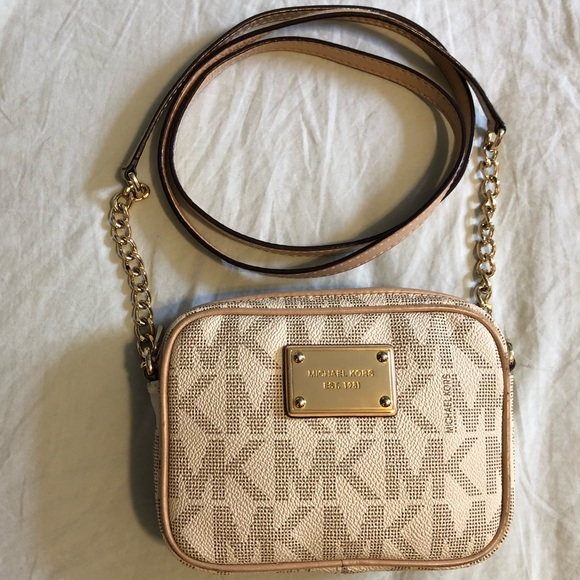 Michael Kors Handbags - Michael Kors MK Logo Jet Set Crossbody Smal